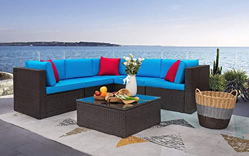 Homall 6 Pieces Patio Furniture Sets Outdoor Sectional Sofa All Weather PE Rattan Patio Conversation Set Manual Wicker Couch with Cushions and Glass Table Blue