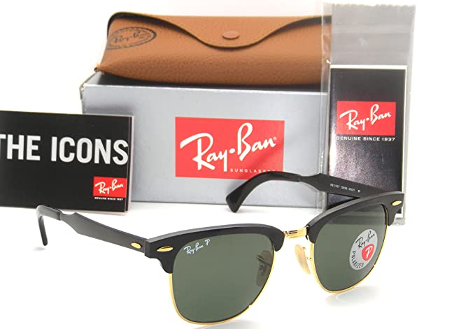 99ee9afc18 Image Unavailable. Image not available for. Colour  Ray Ban Clubmaster  Aluminum Brushed Black  Green Polarized RB 3507 136 N5 49mm
