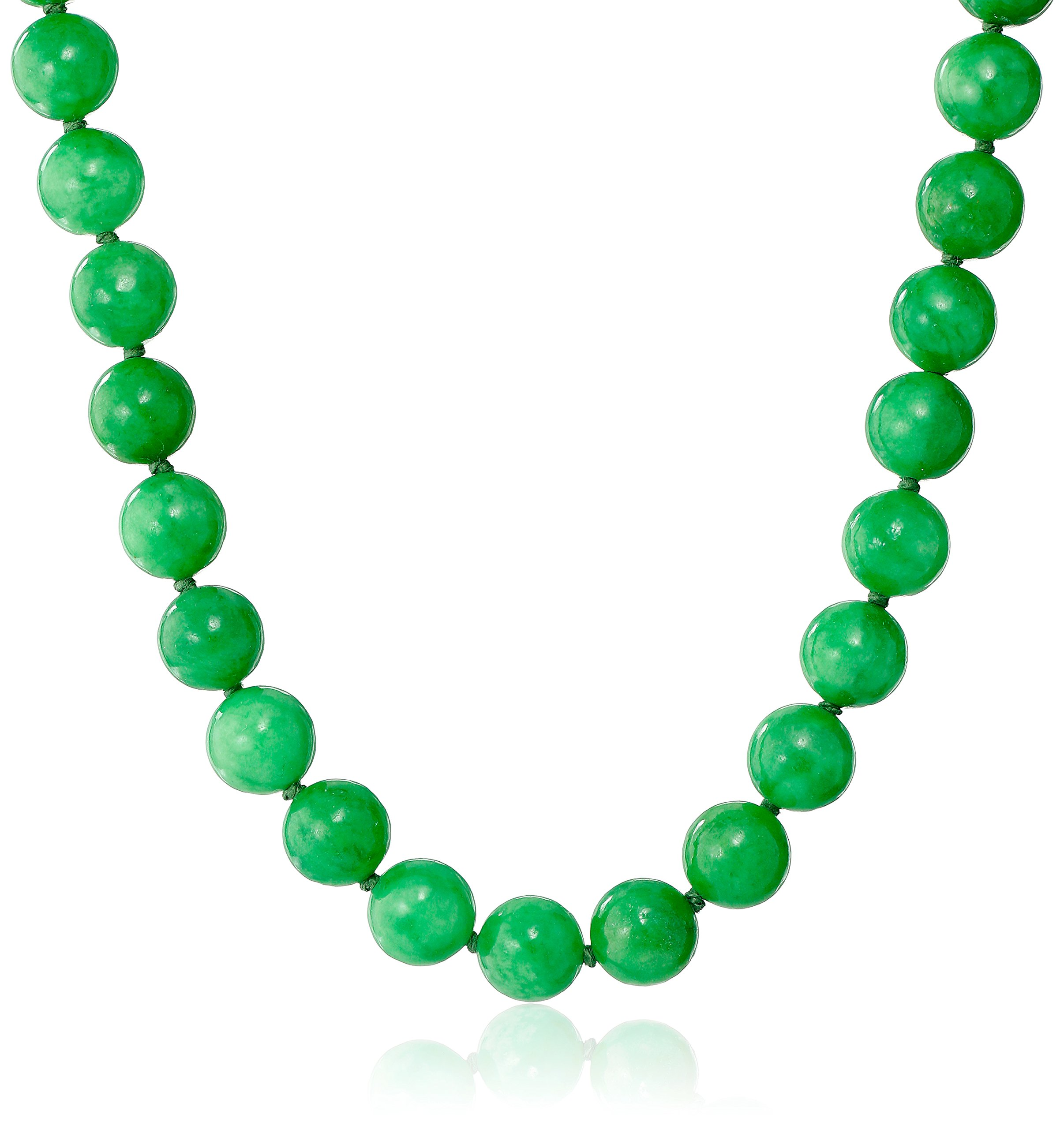 14k Yellow Gold 10mm Green Jade Strand Necklace, 18''