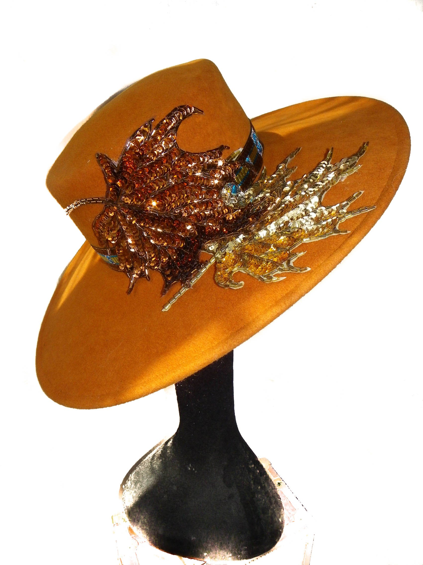 Style Of Individuality Wide Brim Wool Felt Hat In FALL'S Pumpkin, West's Turquoise, With Sparkles! by Style Of Individuality (Image #3)