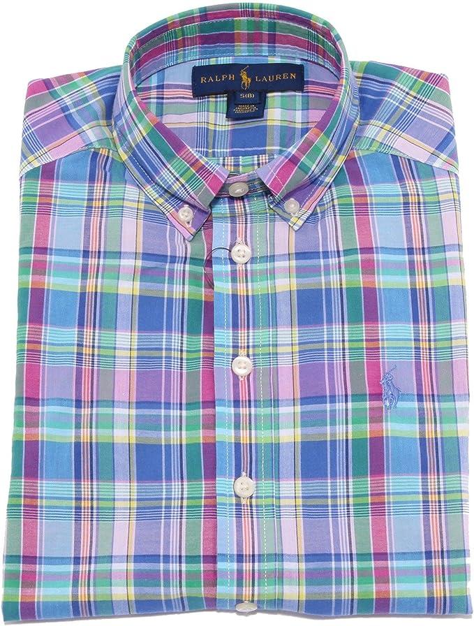 9133T - Camisa de niño RALPH Lauren multicolor - Camiseta larga de manga corta multicolor - Talla L (14-16): Amazon.es: Ropa y accesorios