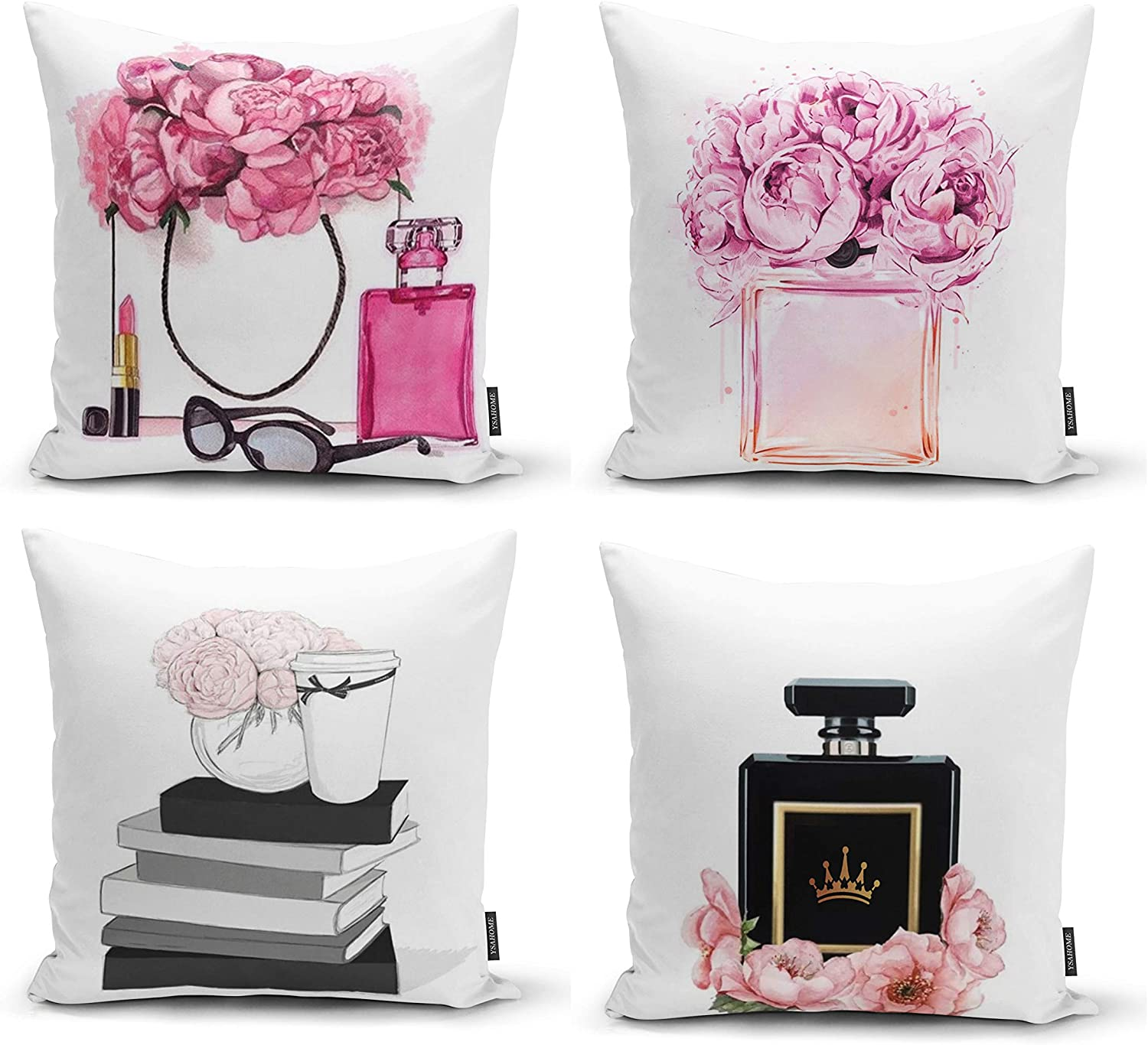 Ysahome Pink Flowers Digital Print Pillow Cover - Queen Perfume Cushion Cover - Book and Vase Decor Throw Pillow Case - Fancy Theme Decorative Accent Pillow, 18x18 Inches (Set of 4)