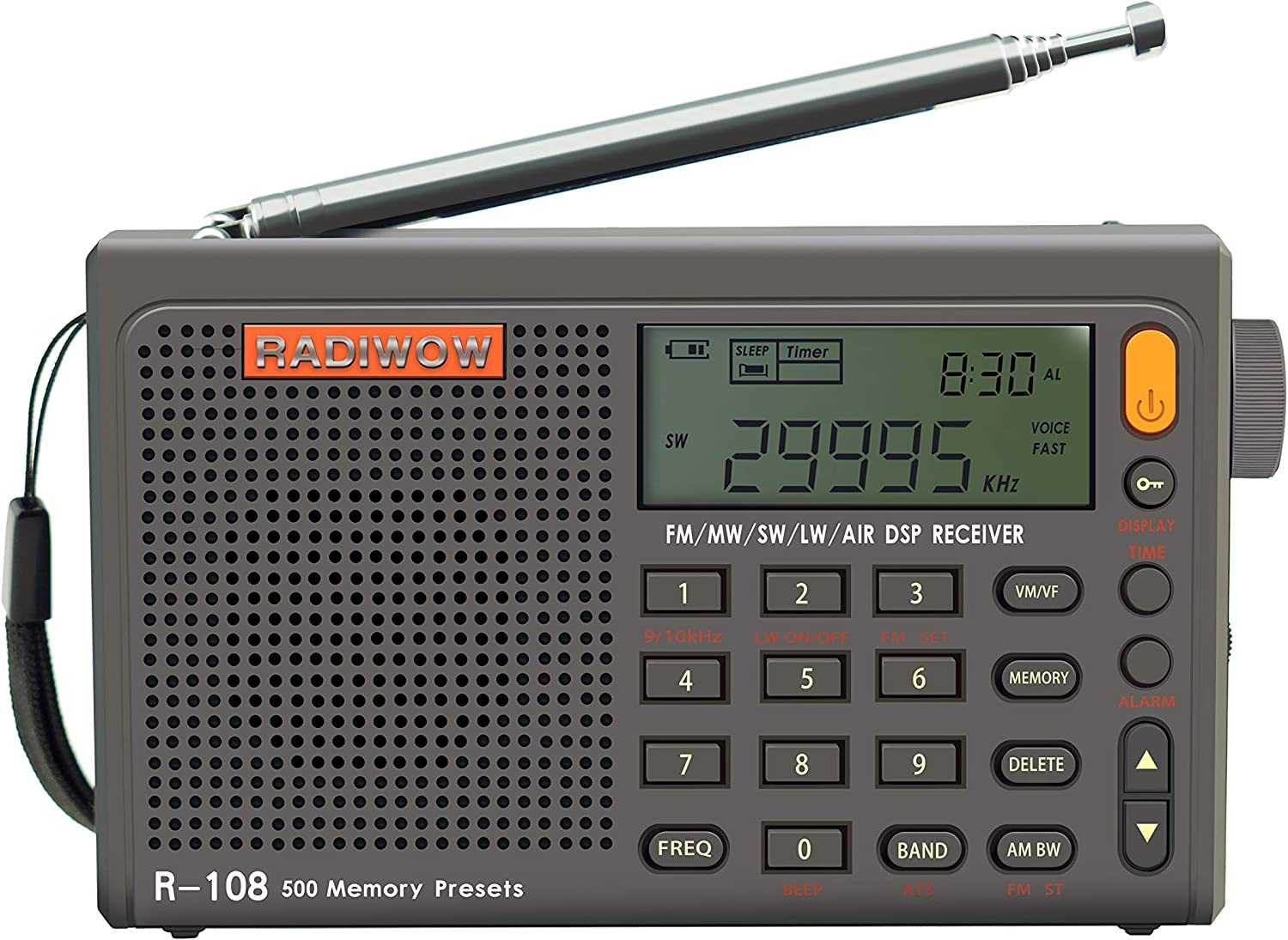 RADIWOW R-108 FM Stereo/LW/MW/SW/AIR Band/DSP Full Band Portable Radio with Headphones Jack and Antenna Jack, Sleep Timer and Alarm Clock, 500 Memories preset Stations (100 preset for Each Band).: Home Audio & Theater