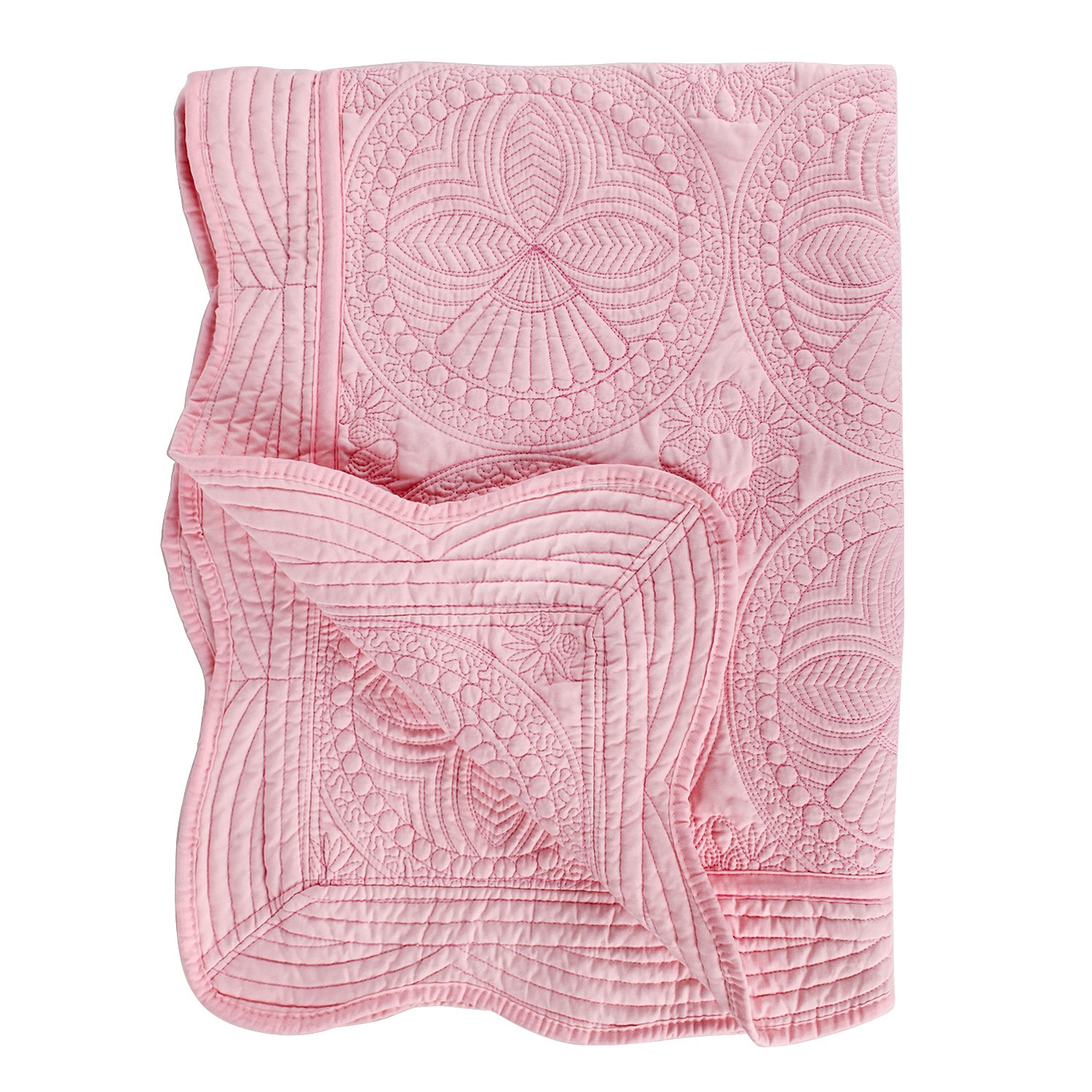 Toddlers and Baby Quilt Lightweight Blanket Embossed Cotton Quilt 4 Seasons Scalloped Newborn Baby Boy/Girl (Pink) by YIQIGO