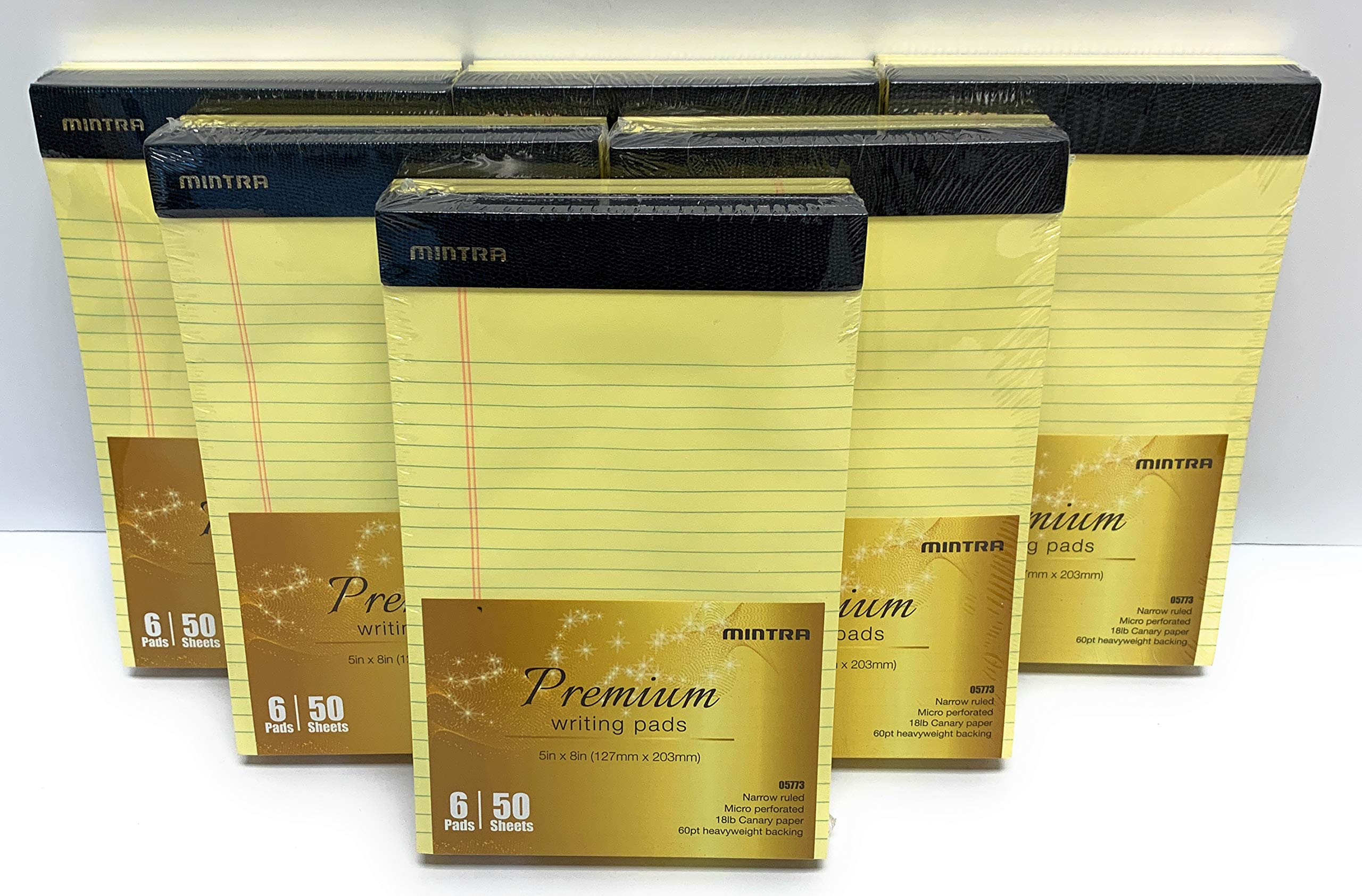 Mintra Office Legal Pads - 50 Sheets per Notepad - Micro perforated Writing Pad/Notebook Paper for School, College, Office, Work (xPremium, 5in x 8in, Narrow (Canary), 36pk (6-6pks))