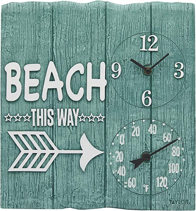 "Taylor Precision Products 92685T 14"" x14 Poly Resin Beach This Way Clock with Thermometer, Multicolored"