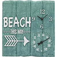 Taylor Precision Products 92685T 14″ x14 Poly Resin Beach This Way Clock with Thermometer, Multicolored