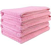 Polyte - Toalla de baño de Microfibra superabsorbente antipelusa - Secado rápido - Rosa - 145 x 76 cm - Pack de 4