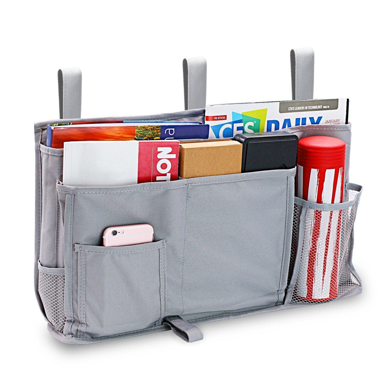 803d649f7fcf Pocket Bedside - Big Hanging Storage Organizer 8 Pockets for Books Phones  Tablets Accessory and TV Remote - Best for Headboards, Bed Rails, Dorm ...