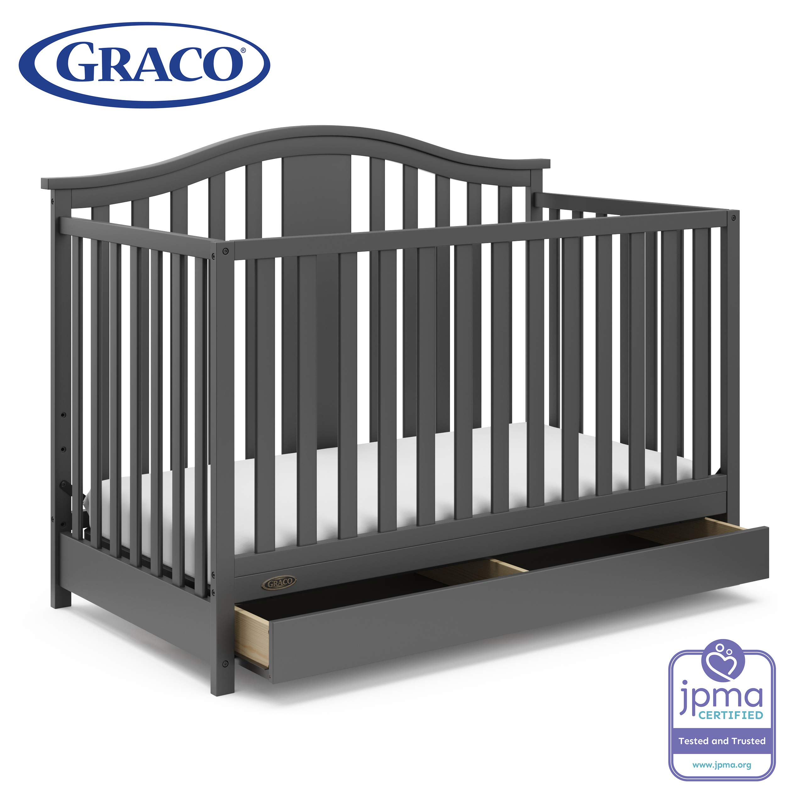 Graco Solano 4-in-1 Convertible Crib with Drawer, Easily Converts to Toddler Bed Day Bed or Full Bed, Three Position Adjustable Height Mattress, Assembly Required (Mattress Not Included), Gray by Storkcraft