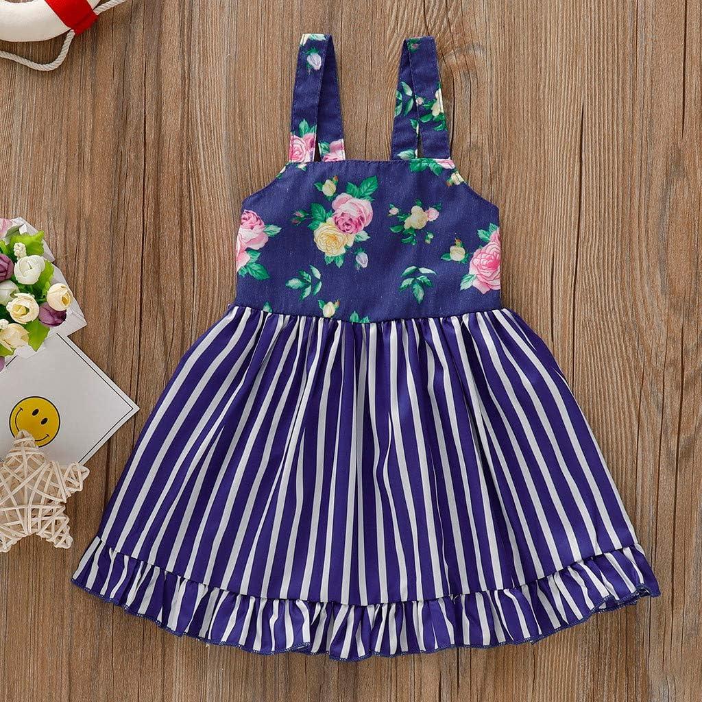 Summer Cute Tutu Princess Dress Outfits 2-3 Years, Navy Toddler Baby Girls Stripe Dresses Newborn Floral Print Big Bow Sling Dress