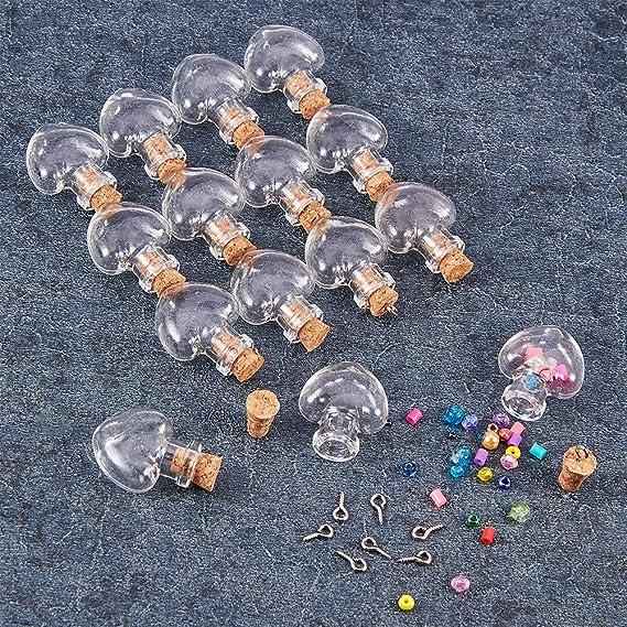 10 Glasflaschen Korken Herzform Gläser Durchstechflasche Flasche Anhänger