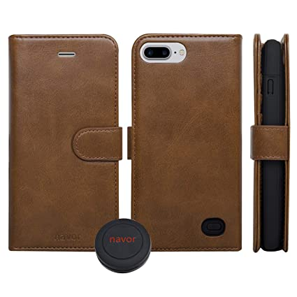 navor Universal Car Mount and RFID Folio Wallet Magnetic Detachable Power Battery Case 4200mAh Compatible for iPhone 7 Plus / 6 Plus / 8 Plus [5.5 ...