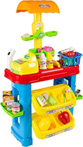 Hey! Play! Kids Grocery Store Selling Stand– Supermarket Playset with Toy Cash Register, Scanner, Play Money, Shopping Basket & 28 Pieces of Food, Brown/a (80-TK090477)