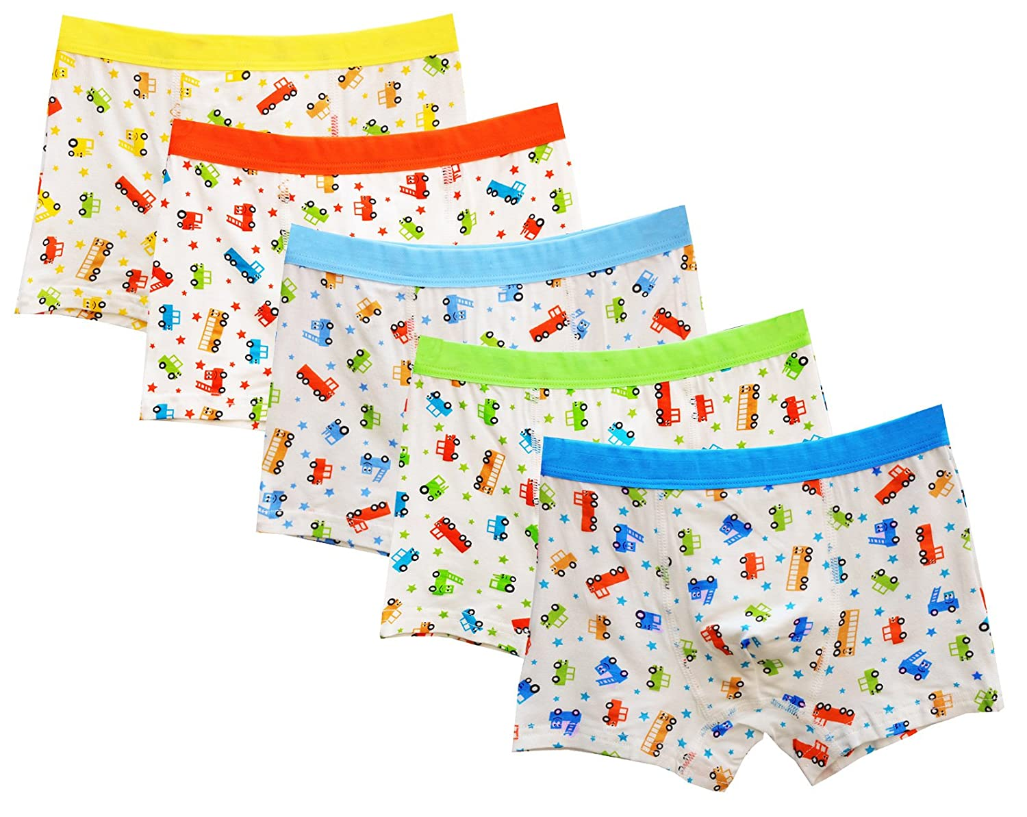 CHUNG Little Big Boys Soft Modal Boxer Briefs Underwear 5 Pack Dinosaur Print 2-7Y