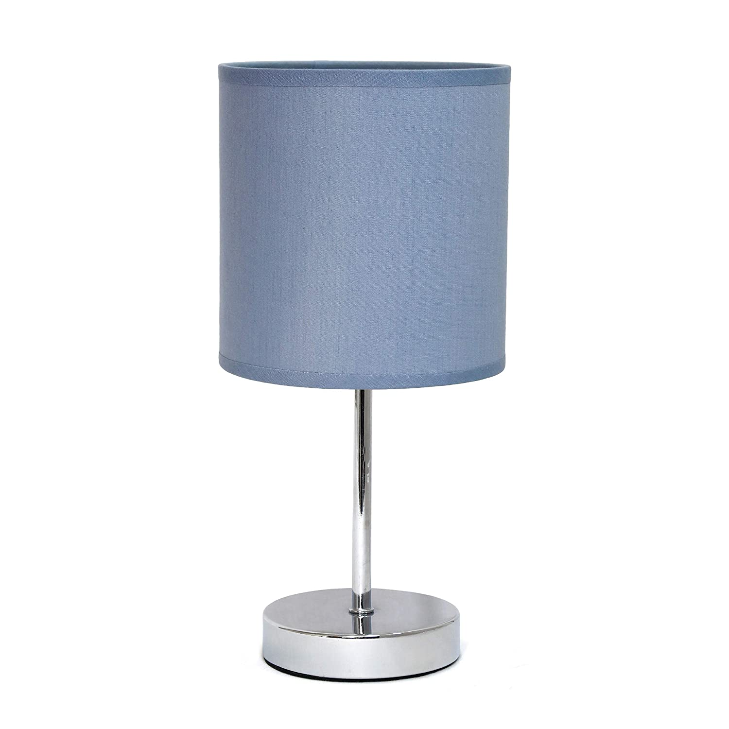 "Simple Designs Home LT2007-PRP Simple Designs Chrome Mini Basic Table Lamp with Fabric Shade, 5.51"" x 5.51"" x 11.81"", Purple"