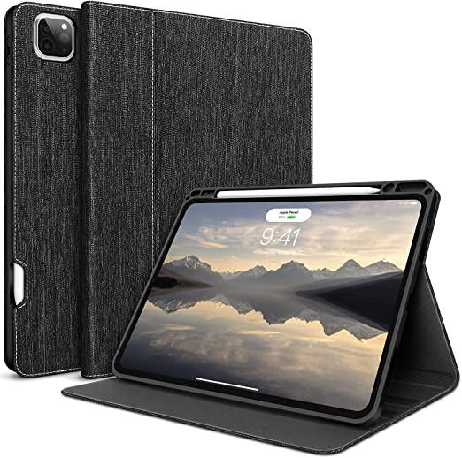 iPad Pro 11  Case Thin Magnetic Cover With Pencil Holders /& Sleep-Wake Dark Blue Genuine Cowhide Leather Second Generation 2020