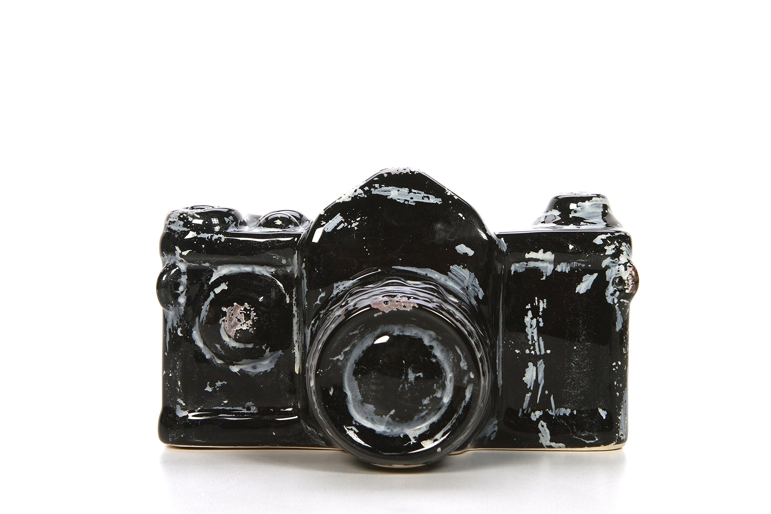 Hosley 4'' High, Decorative Tabletop Ceramic Camera, Black. Ideal Gift for Wedding, Photographer, Home, Party Favor, Spa, Reiki, Meditation, Bathroom Settings P1