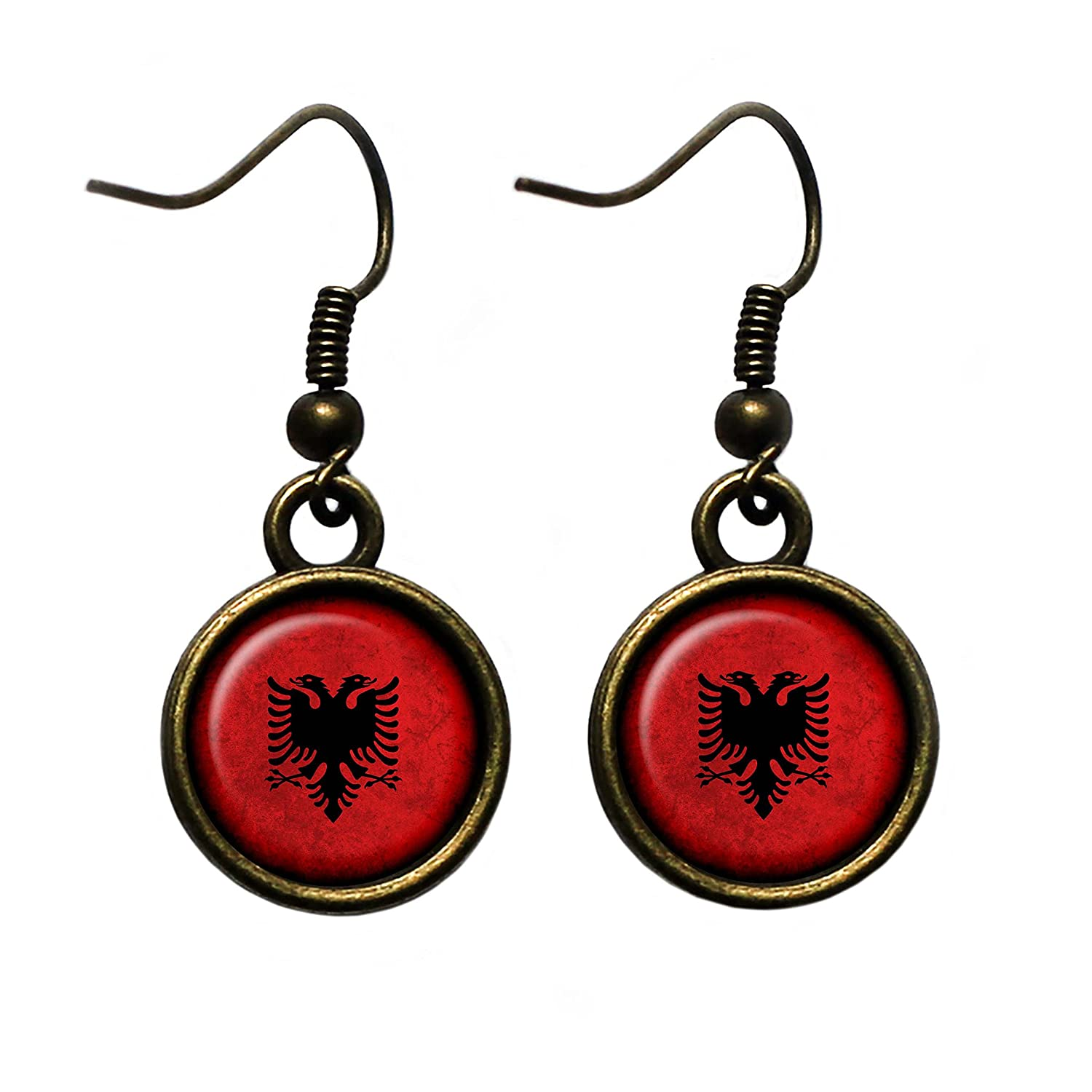Albania Albanian Flag Antique Bronze Earrings