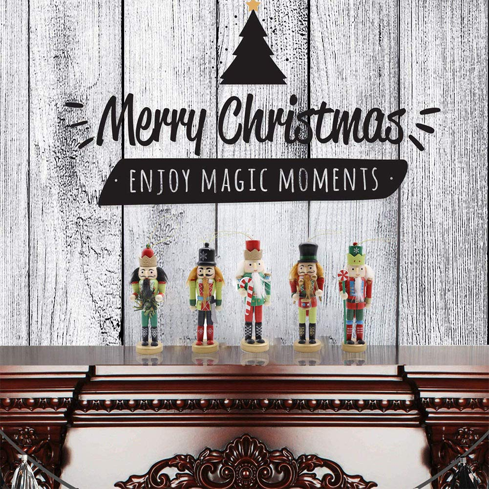 Amor Christmas Nutcracker Ornaments Set, 5PCS Wooden Nutcracker Soldier Hanging Decorations for Christmas Tree Figures Puppet Toy Gifts