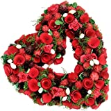 "Custom & Unique (13.5"" Inches) 1 Single Mid-Size Decorative Holiday Wreath for Door, Made of Resin w/ Artificial Festive Valentine's Day Love Heart w/ Rose Flowers Style (Green, Red, Purple, & White)"