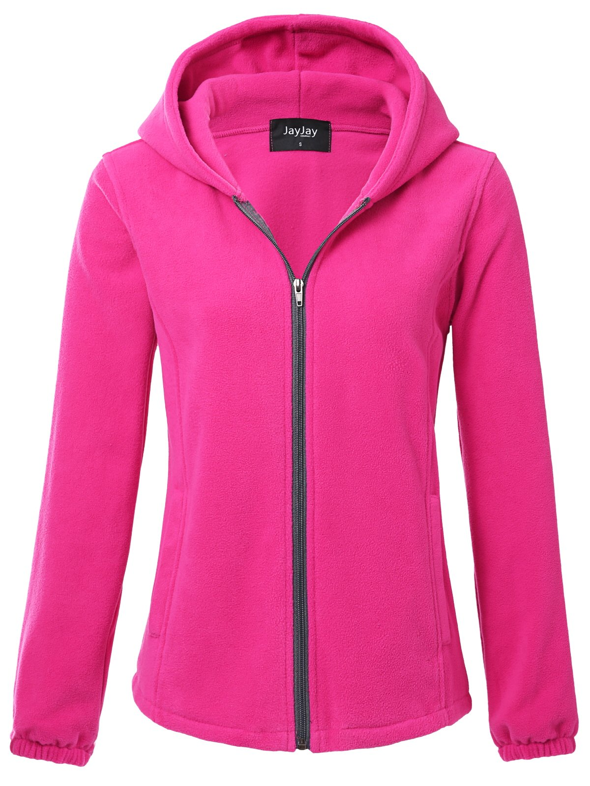 JayJay Women Ultra Soft Fleece Long Sleeve Hoodie Jacket,Fuchsia,2XL