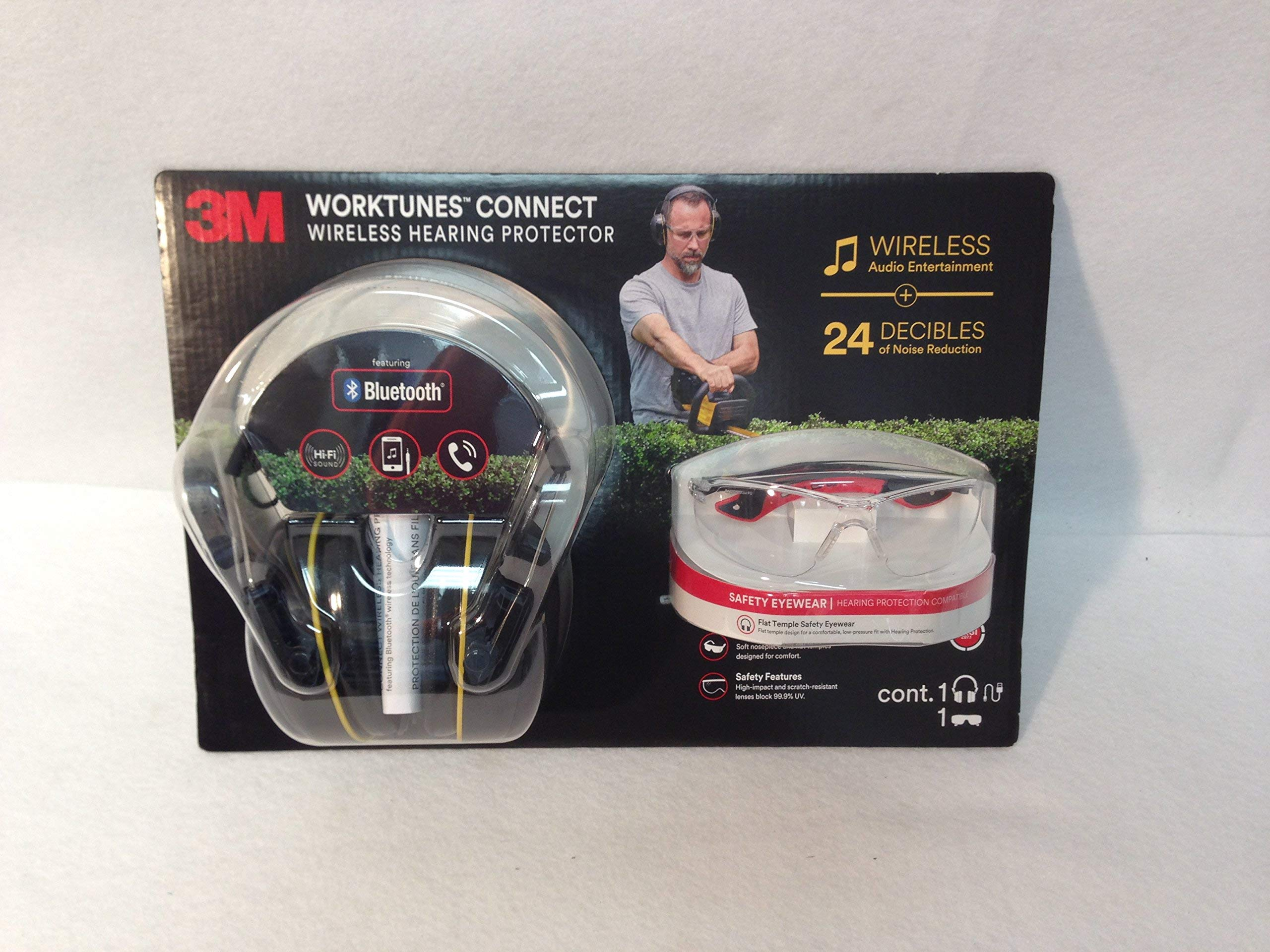 3M worktunes Connect Wireless hearing protector + Safety Eyewear by Worktunes