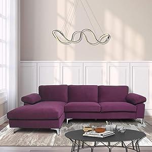 NOUVCOO Sectional Living Room, Velvet Sofa Left Hand Facing, Deep Purple