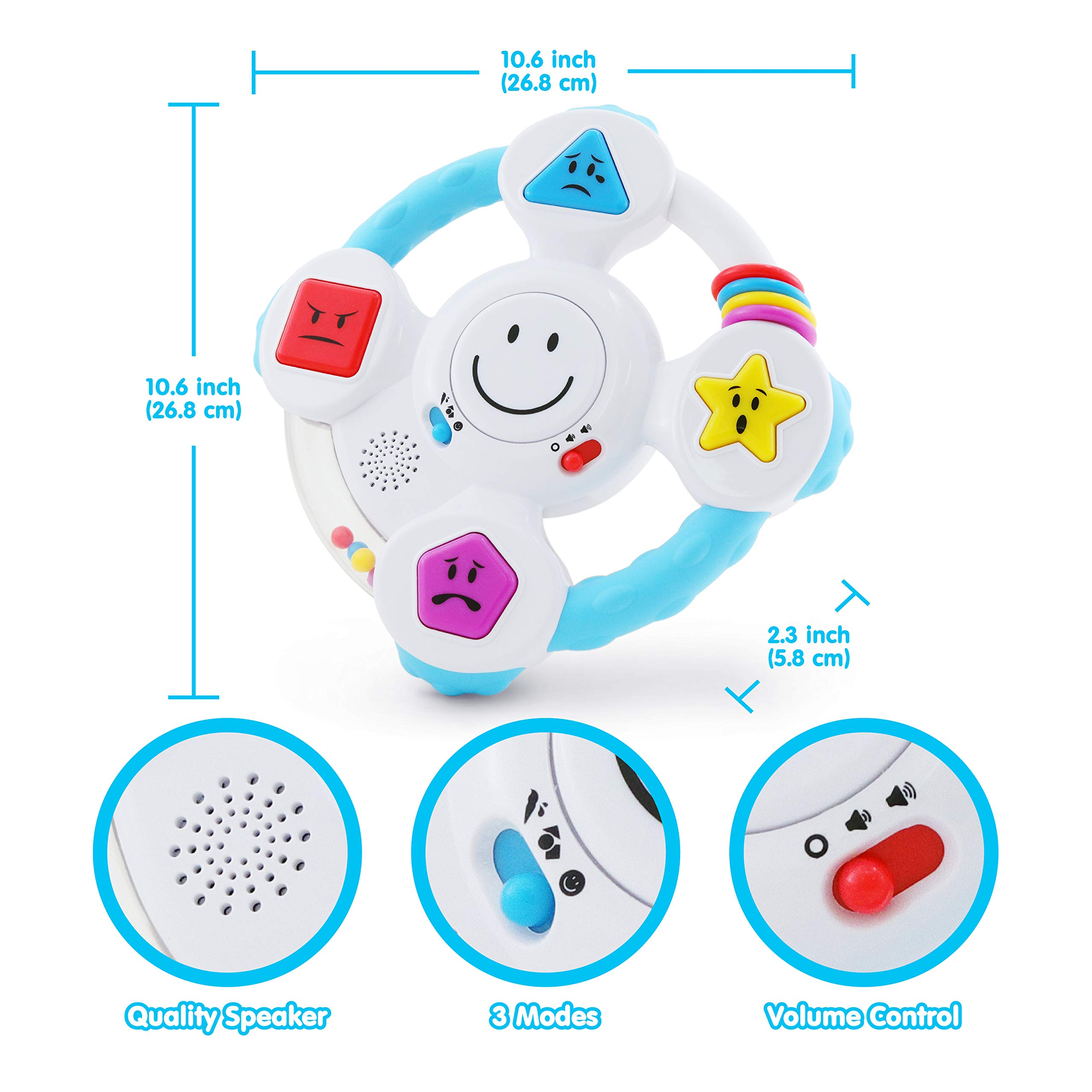 BEST LEARNING My Spin & Learn Steering Wheel - Interactive Educational Light-Up Toddler Toys for 6-36 Months Old Infants & Toddlers - Colors, Shapes, Emotions & Music Game for Babies by BEST LEARNING (Image #5)