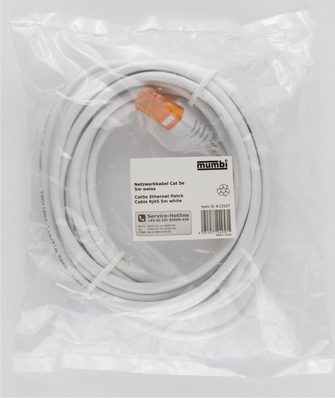 1x mumbi 23543 Cat.7 S//FTP Cavo di Rete Grezzo LAN Ethernet Patch con connettori RJ-45 20.0m Bianco