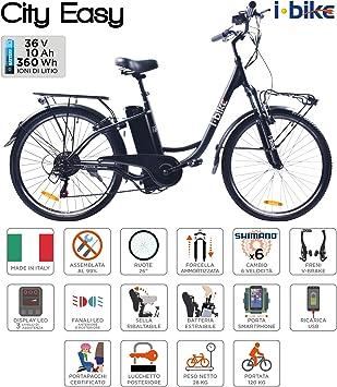 i-Bike City Easy Bicicleta eléctrica, Negro, 180 x 90 x 32 cm ...