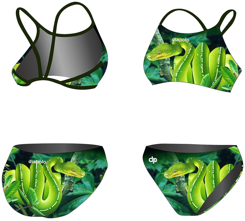 Diapolo Green Snake Sport-Bikini Zweiteiler aus der Wild Animals Kollektion für Schwimmen Synchronschwimmen Wasserball Thriathlon