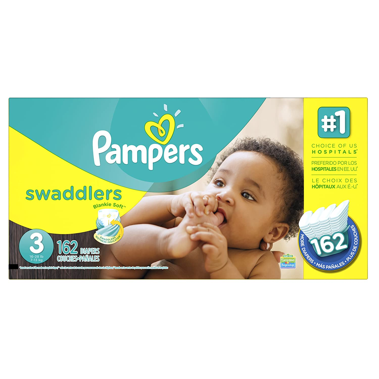 Pampers Swaddlers Diapers Size 3 Economy Pack Plus, 162 Count (Packaging May Vary) by Pampers   B00DFFT76U