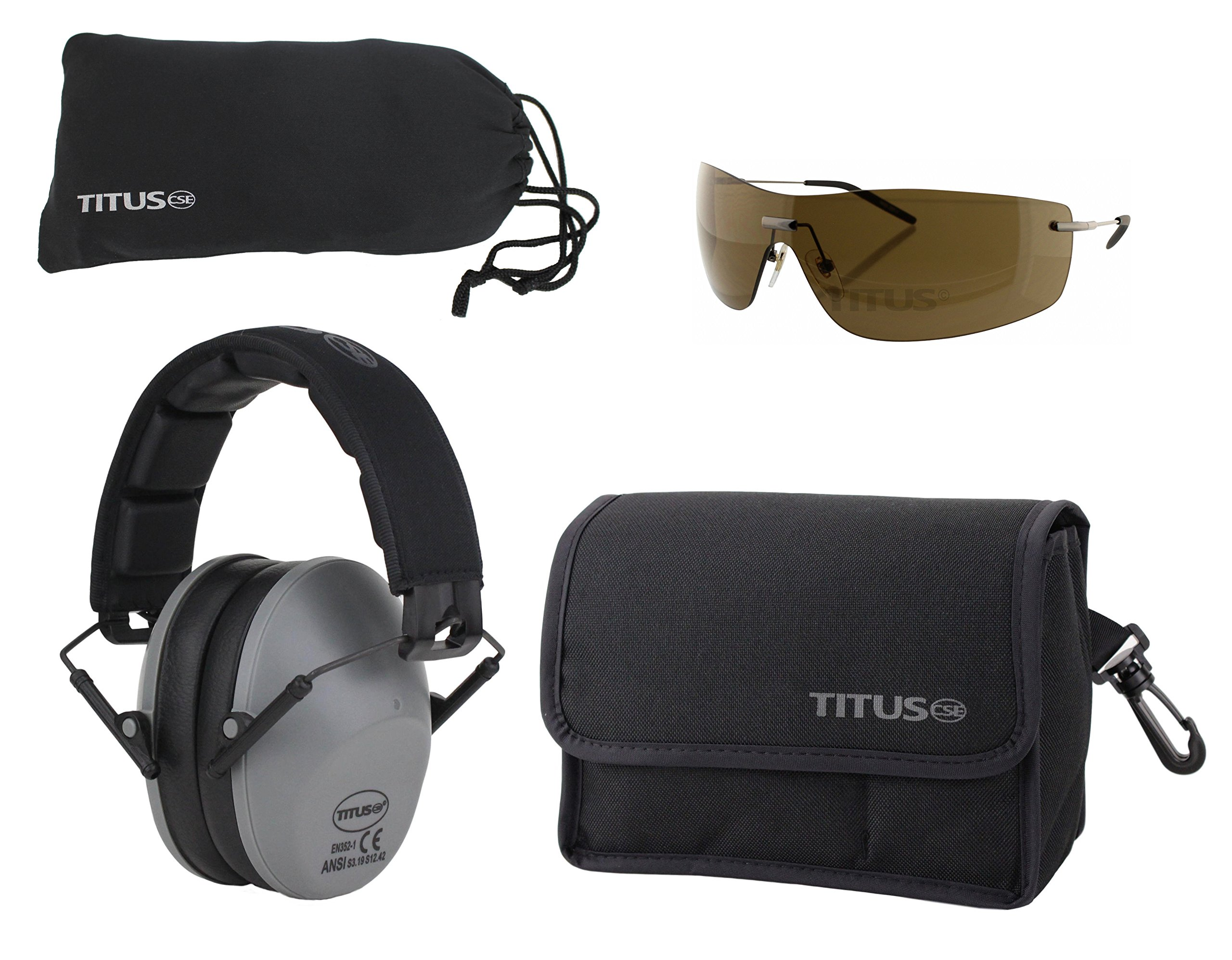 TITUS Safety Combos: Earmuff & Glasses (Grey - Slim, G16 Bronze w/Euro-style Metal Frame)