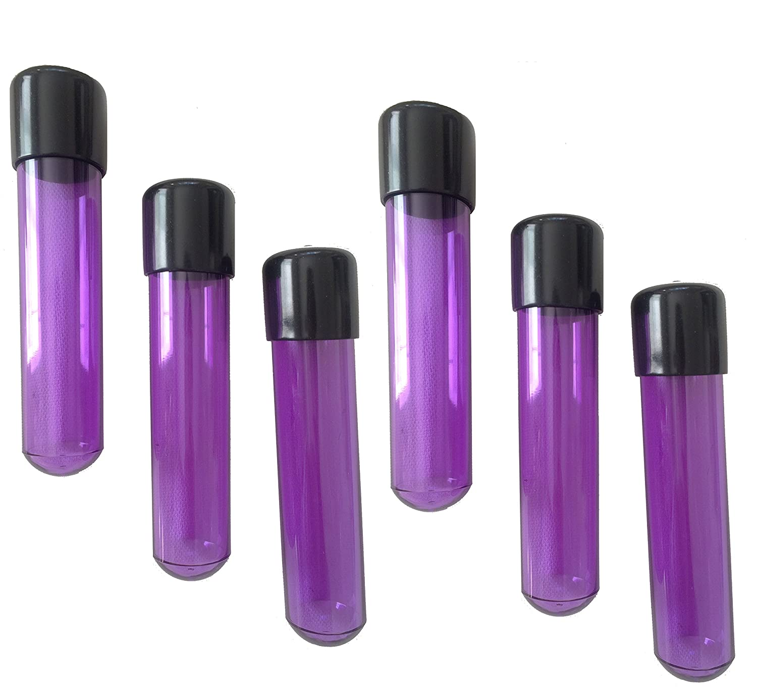 44 mL 12 Dram 6-Pack of Large 4.75 inch tall 1.5 oz Purple Plastic Airtight Watertight Childproof Sample Storage Herb Spice Medical Specimen Vial Test Tube Container w// Black Caps