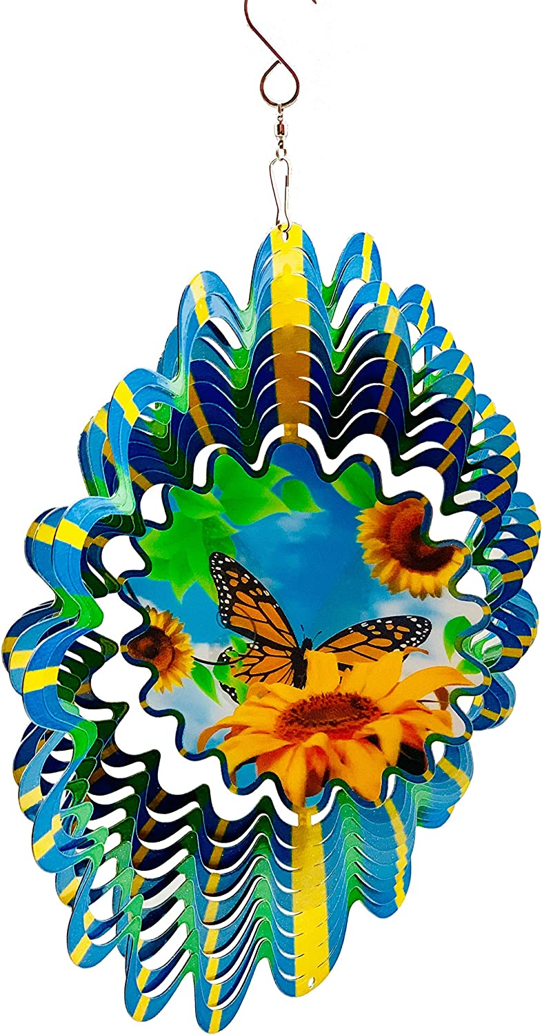 Dundee Deco W3001 Wind Spinner in Gift Box - 3D Hanging Indoor Outdoor Yard Garden Decoration - Butterfly Flower - Blue Green Yellow - 12 in - Unique Gift Idea for Men Women, Souvenir, Present