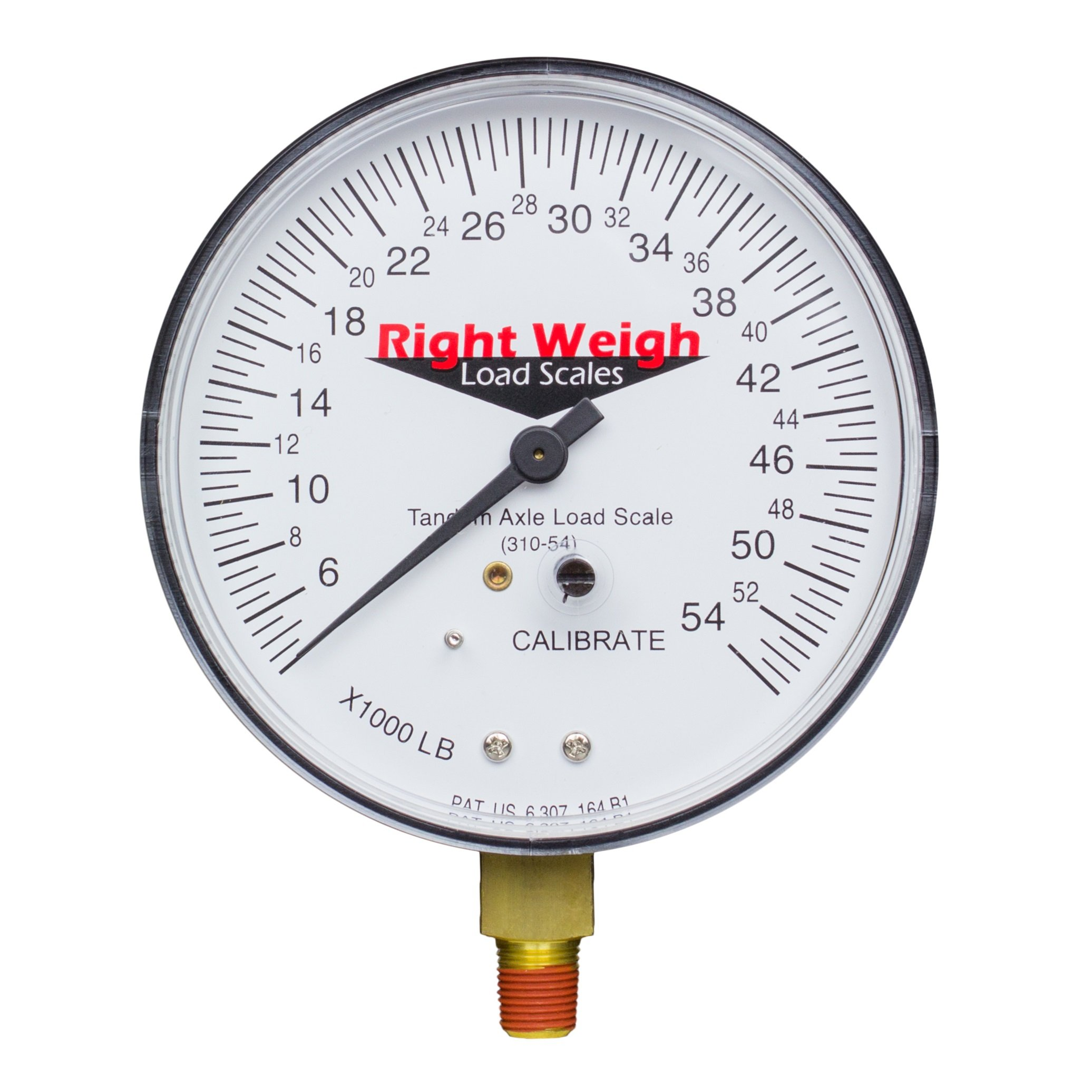 Right Weigh Replacement Gauge 310-54-GO (Gauge Only) Tandem-Axle Exterior Analog Axle Load Scale - for Single Height Control Valve Air Suspensions by Right Weigh Load Scales