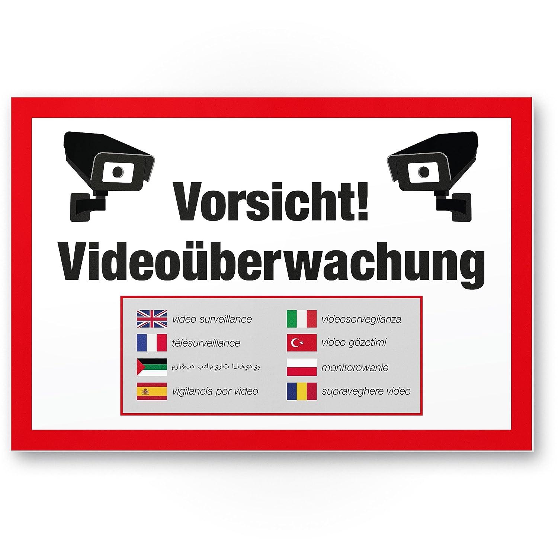 Vorsicht Cartel de videovigilancia (Blanco de rojo 30 x 20 ...