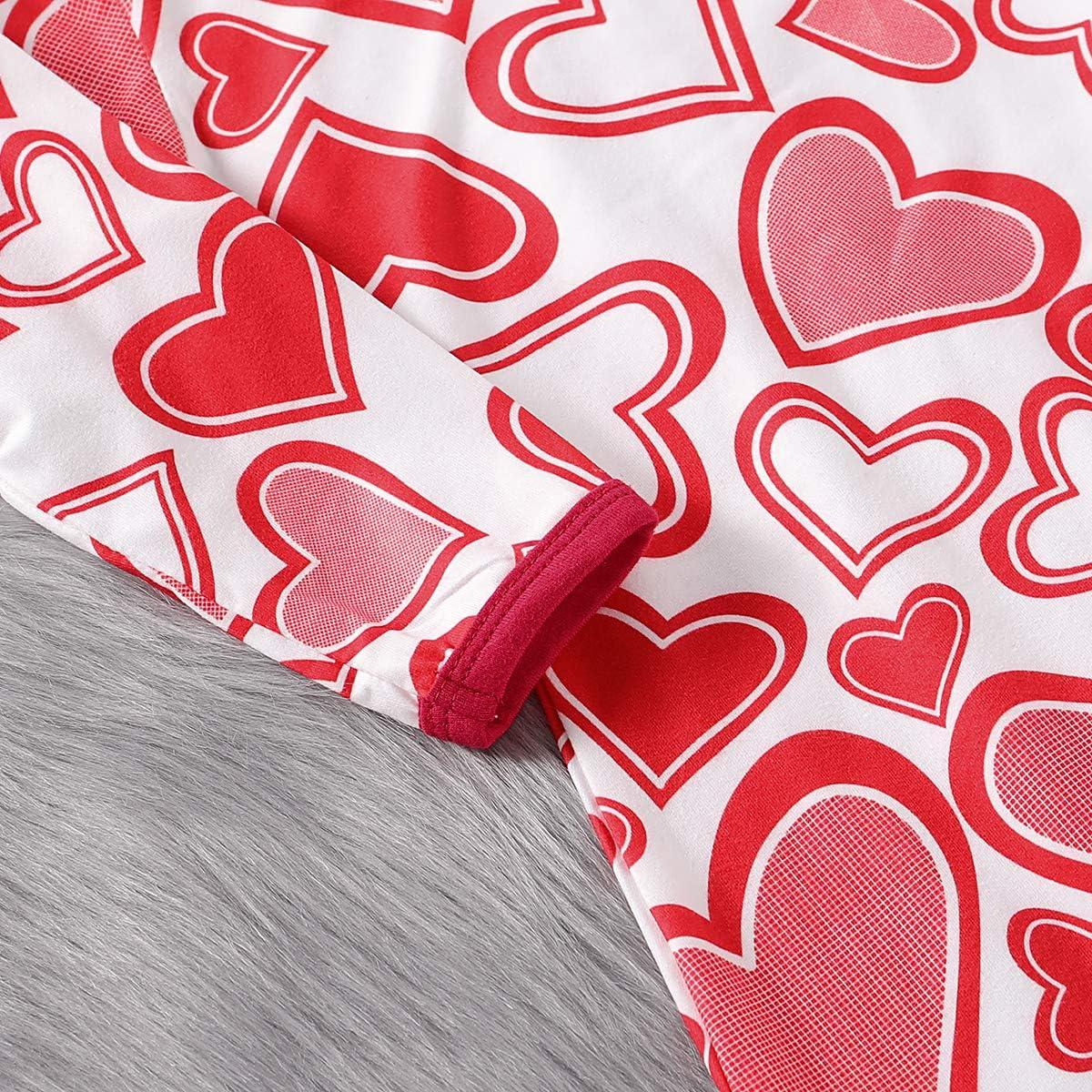 MODNTOGA Toddler Baby Girls Long Sleeve Valentines Day Striped Print Heart Fringe Skirt Dress