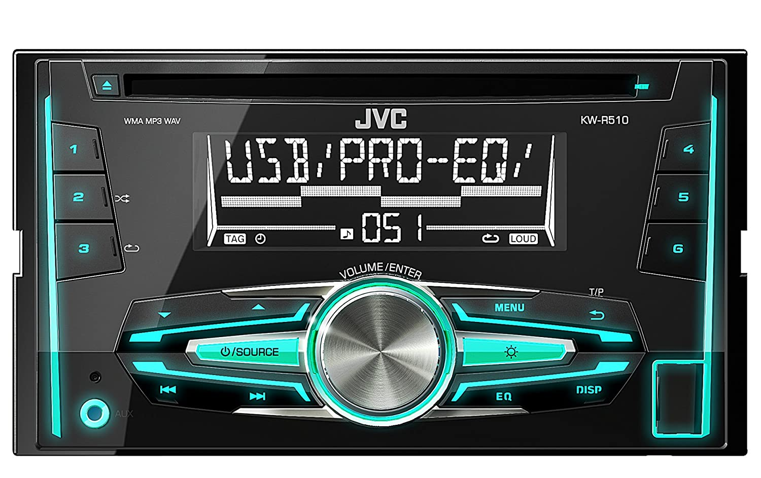 JVC KW-R510 Double Din Car Stereo with Front USB/AUX Input: Amazon.co.uk:  Electronics