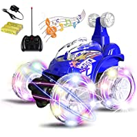 Magicwand R/C Rechargeable 360 Degree Twisting Stunt Car with Music and Lights for Kids (Multicolour)
