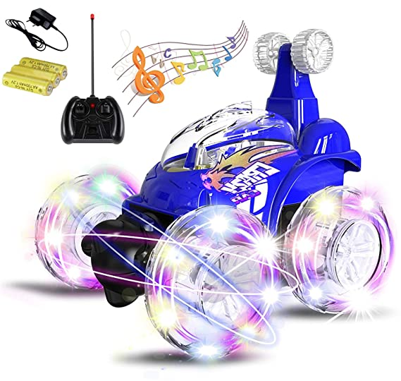 Magicwand® R/C Rechargeable 360 Degree Twisting Stunt Car with Music & Lights for Kids ( Colors as Per Stock)