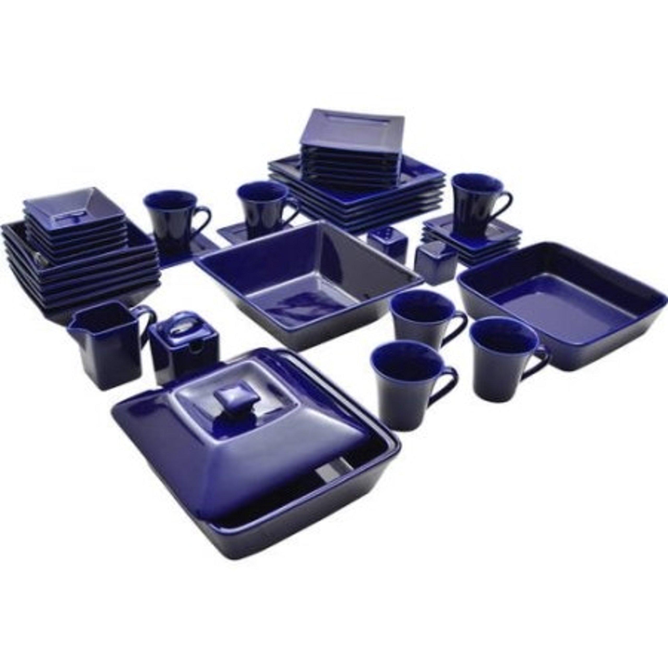 45-Piece Contemporary Square Shape Porcelain Blue Dinnerware Set