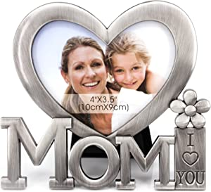 QTMY for Mom I Love You Picture Frame,Heart Shape Metal Desktop Decor from Daughter Son for Mother's Birthday Day Gift (1)
