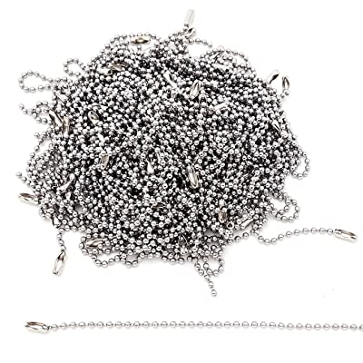 Stainless Steel Ball Chain Tag Key Chain Connector 6 Inch Long 2.4mm Bead Dia 100 Pcs: Industrial & Scientific