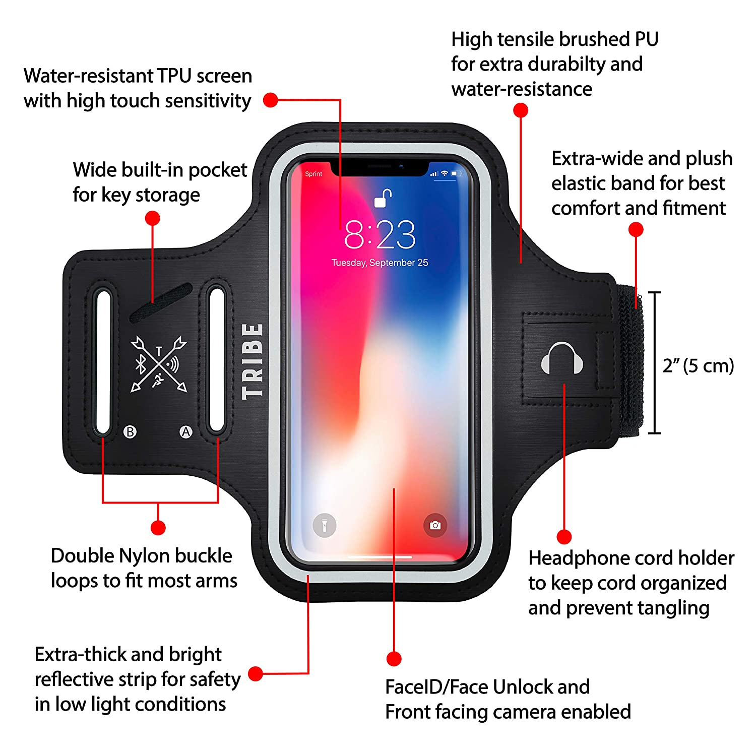 8 TRIBE Water Resistant Cell Phone Armband Case for iPhone X 6S Samsung Galaxy S9 S8 S6 7 Walking Hiking A8 with Adjustable Elastic Band /& Key Holder for Running Xs 6 S7