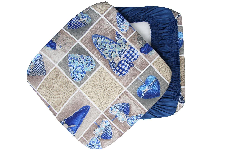 6 CUSCINI Sedie Cucina Coprisedia IMBOTTITI Colorati Cuore con Elastici Blu Russo Tessuti