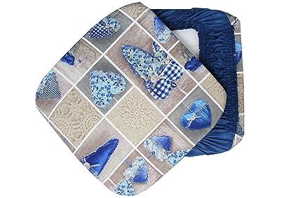 6 cuscini sedie cucina coprisedia imbottiti colorati cuore con elastici blu