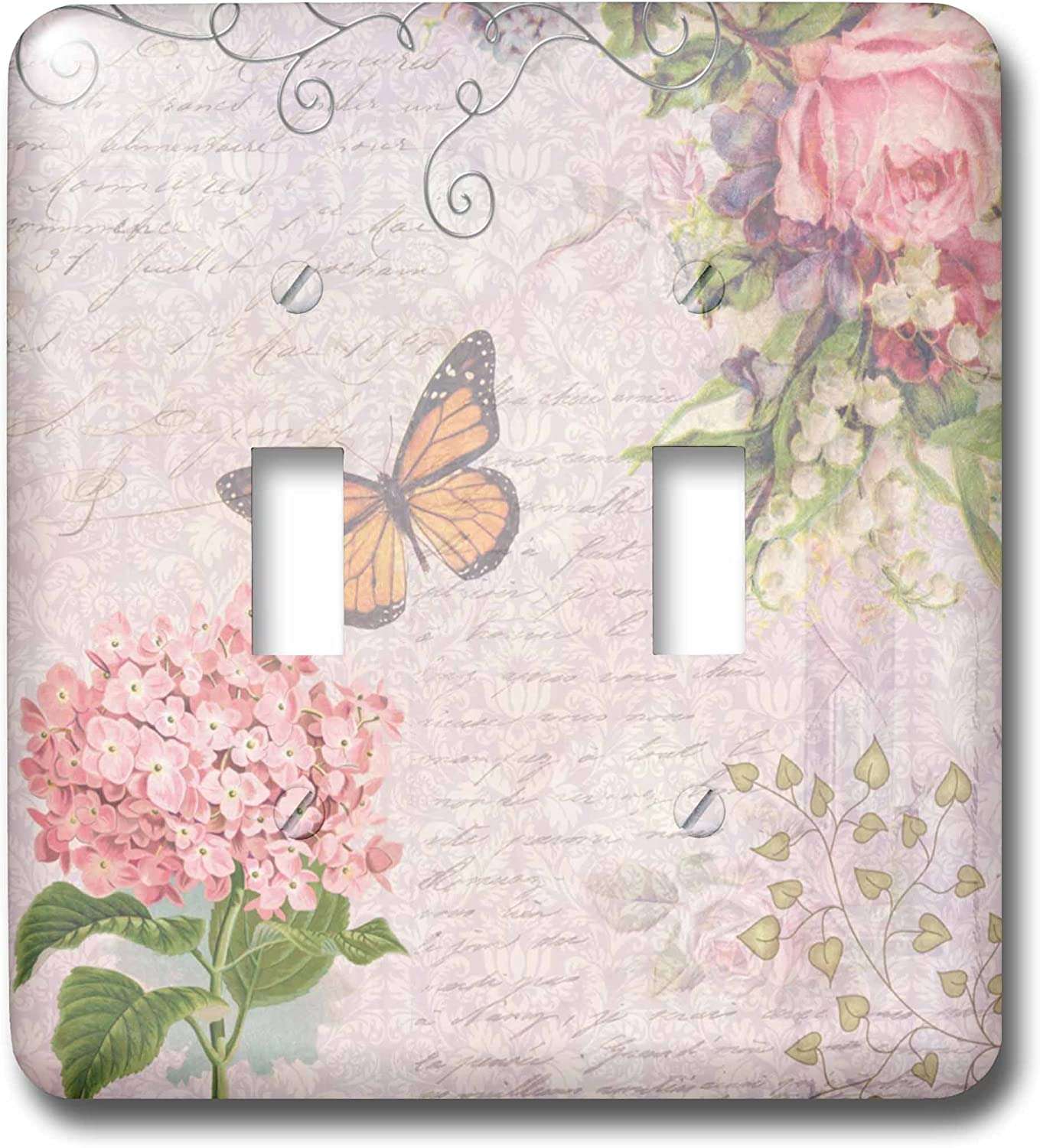 3drose Lsp 76596 2 Vintage Flowers Handwriting And Butterfly Pretty Summer Garden Girly Collage Swirls And Leaves Double Toggle Switch Switch Plates Amazon Com