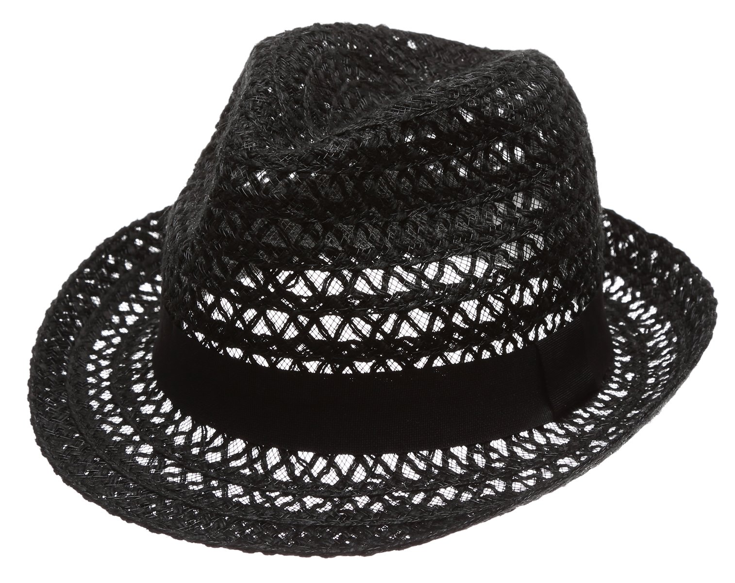 MIRMARU Summer Foldable Trilby Short Brim Lightweight 100% Linen Crushable Fedora Hat with Band(Black)
